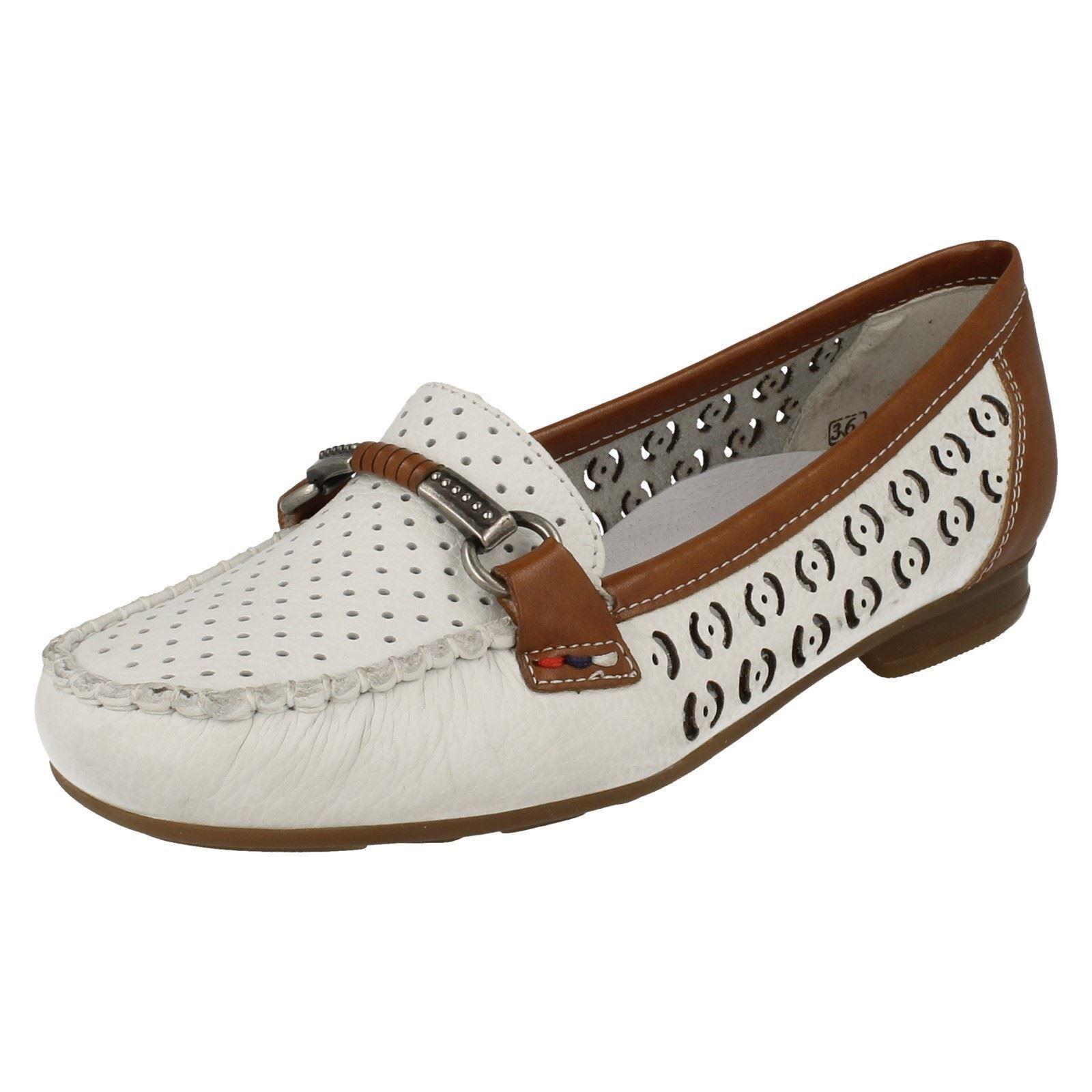 Damen weiß Kombination ohne Bügel Leder-Slipper Reiker Schuhe 40085
