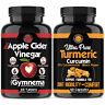 Weight Loss Apple Cider Vinegar ACV + Turmeric Curcumin Fat Burner Pill 2-Pk