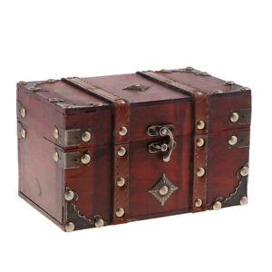 Antique-Wood-Treasure-Chest-Jewelry-Storage-Box-Case-Home-Accessory-A