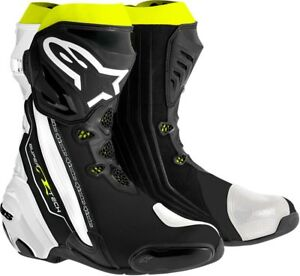 ALPINESTARS-SUPERTECH-R-Road-Track-Motorcycle-Boots-Black-Wht-Yllw-Choose-Size