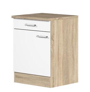 k chen unterschrank salerno 60 cm melamin weiss sonoma eiche dekor ebay. Black Bedroom Furniture Sets. Home Design Ideas