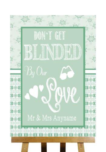 Hiver Noël vert de ne pas être aveugle lunettes de soleil signe de mariage personnalisé