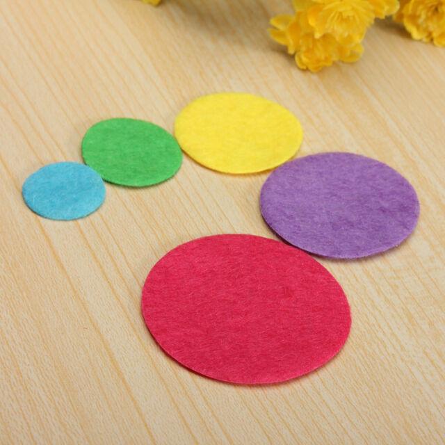 100X 15/20/25/30/35mm Padded Round Circle Sewing Felt DIY Craft Patch Scrap Book