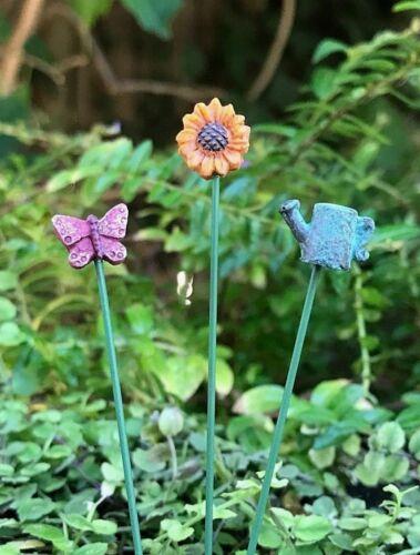 Miniature Dollhouse FAIRY Accessories ~ Set of 3 Mini Garden Stakes Picks