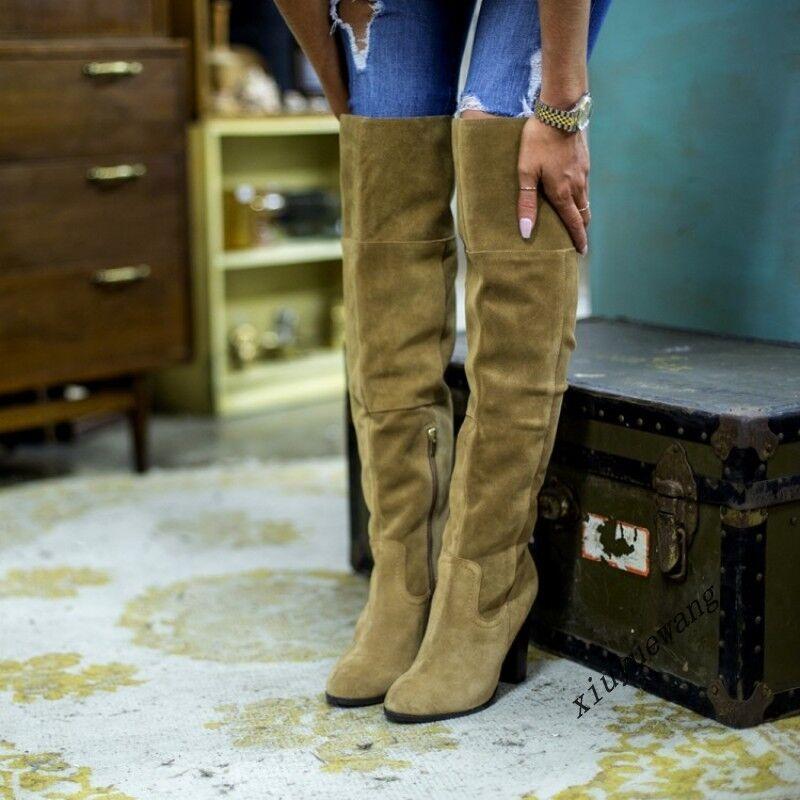 British Fashion Suede Pull On Zipper Stiletto Stiletto Stiletto Heel Over Knee Thigh bottes chaussures a25c5e