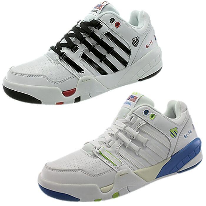 K-Swiss SI-18 Intl hommes Baskets noir blanc Ou blanc bleu snooth CUIR NEW