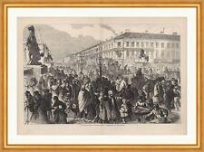 St. Petersburger Skizzen: Der Newski Prospect Broling Russland Holzstich C 0188