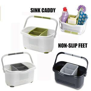Sink-Tidy-Caddy-Cutlery-Kitchen-Holder-Rack-Plastic-Utensils-Organiser-Non-slip