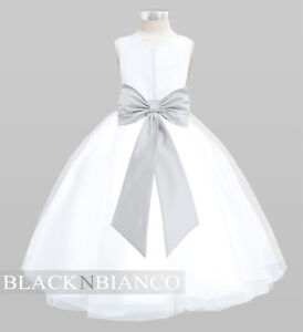 White flower girl dress with removable silver bow flower and sash image is loading white flower girl dress with removable silver bow mightylinksfo