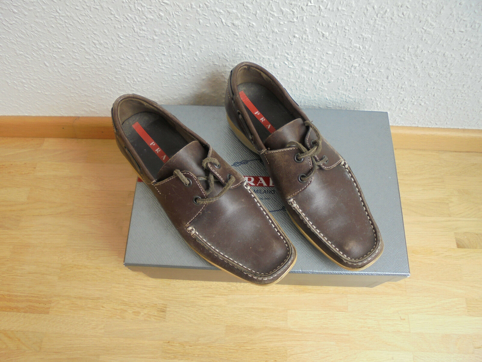 Prada Leder Segelschuhe NP  Slipper Loafer Schuhe Pumps Mokassins 36 36,5 37