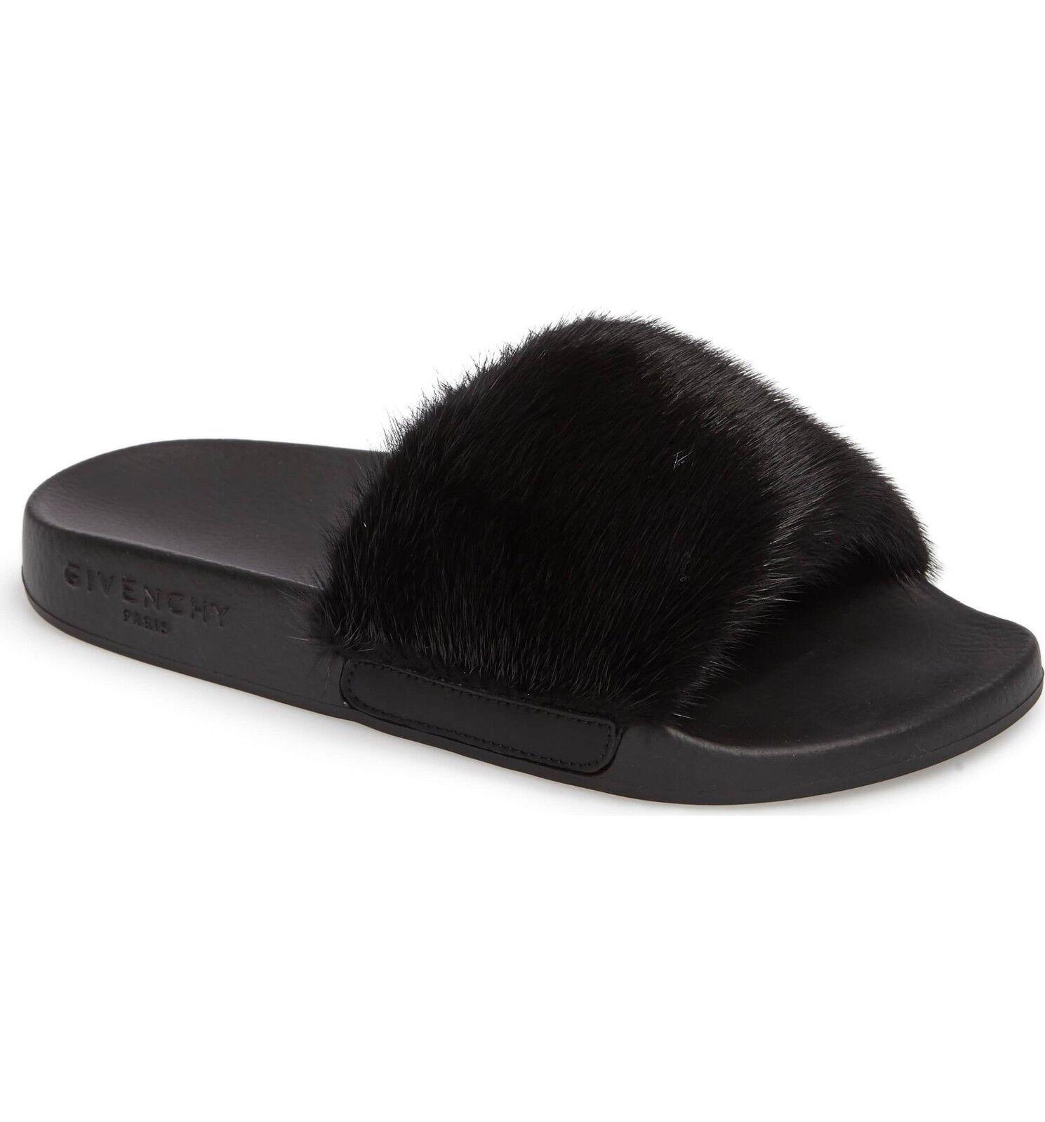 NEW Givenchy Mink Fur Slide Sandal Sandal Sandal Flats nero 37 7 ce06c6
