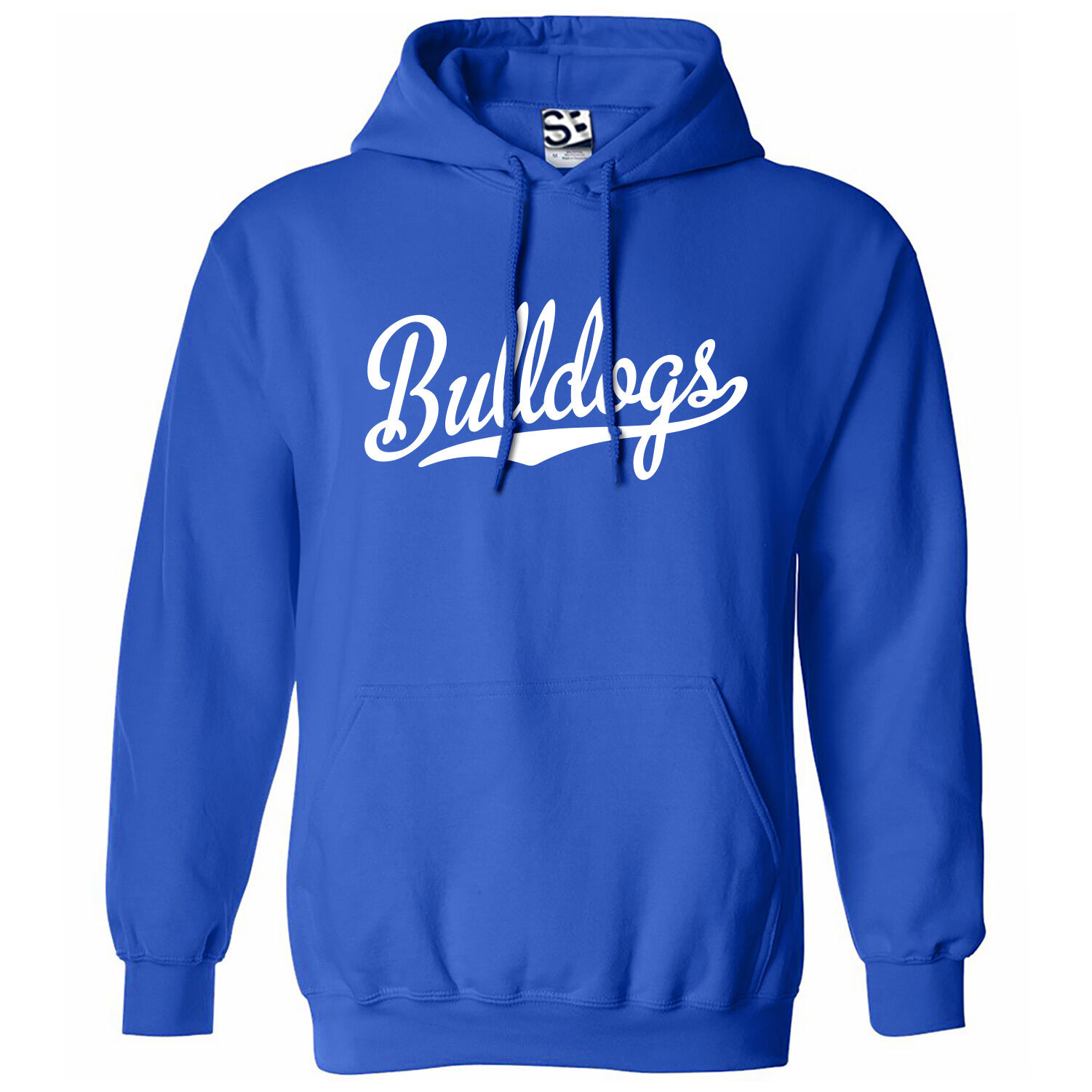 Bulldogs Script & Tail HOODIE - Hooded School Sports Team Sweatshirt  All Farbes