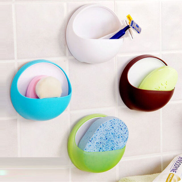 Suction Plastic Cup Soap Bathroom Shower Toothbrush Box Dish Holder Simple Coffe