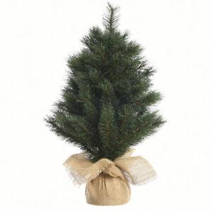 Albero Di Natale 75 Cm.Mini Albero Di Natale 75 Cm Base Con Juta Soprammobile Decorazioni Addobbi Ebay
