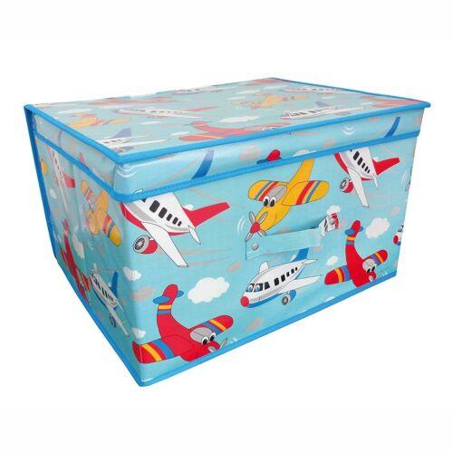 Jumbo Storage Box Folding Storage Chest Childrens Boys Kids Room Tidy Toy Planes