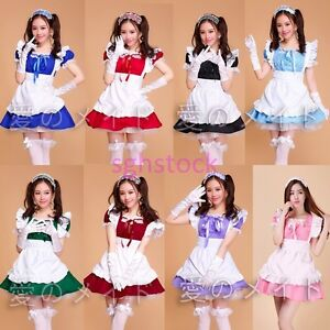 Sweet-Women-039-s-Short-Sleeve-Maid-Costume-Lolita-Dress-Cartoon-Cosplay-Suits-Size