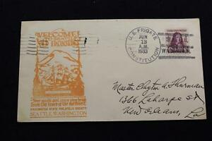 Navale-Cover-1933-SHIP-039-S-Annullo-Postale-Welcome-To-Seattle-U-F-Constitution