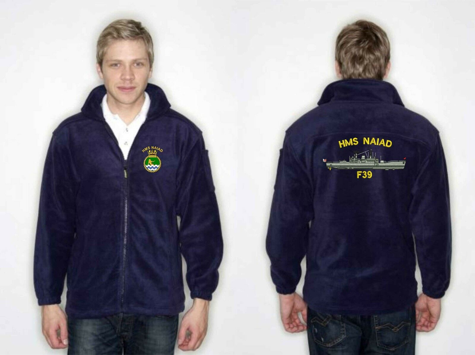 Leander Class Fleece Embroidered with Large Ship's Profile E-S