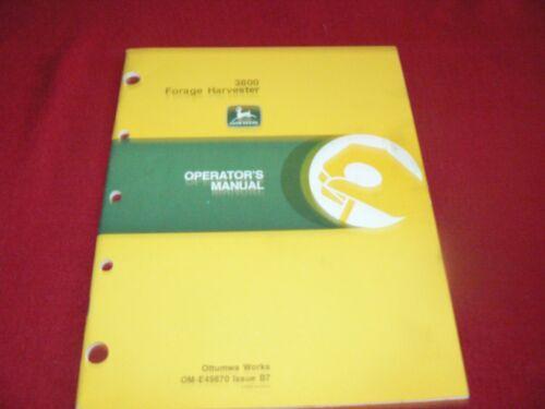 John Deere 3800 Forage Harvester Operator/'s Manual WPNH