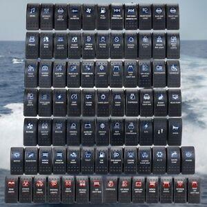 Details about Boat Car Rocker Switch Orange Blue LED 12/24V SPST ON-OFF LED  Light Waterproof