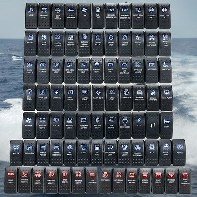 Boat Car Rocker Switch Orange Blue LED 12/24V SPST ON-OFF LED Light  Waterproof | eBay