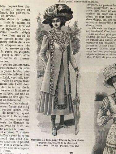 Paletot child dresses MODE ILLUSTREE SEWING PATTERN June 27,1909  Muslin dress