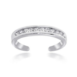 .925 Sterling Silver Channel-Set Cubic Zirconia Toe Ring