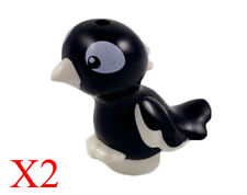 Lego X12 New Plain Black Plume Raven Bird Halloween Animal Crow with Small Pin