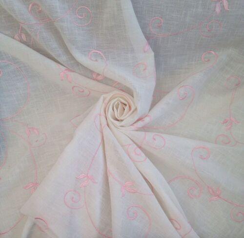 7 Mts brodés Blanc /& Rose Semi Sheer Cotton Linen mousseline rideau tissu