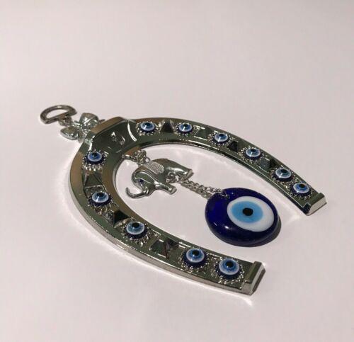 Blue Evil Eye Horseshoe with Elephant and Ribbon Wall Hanging Amulet