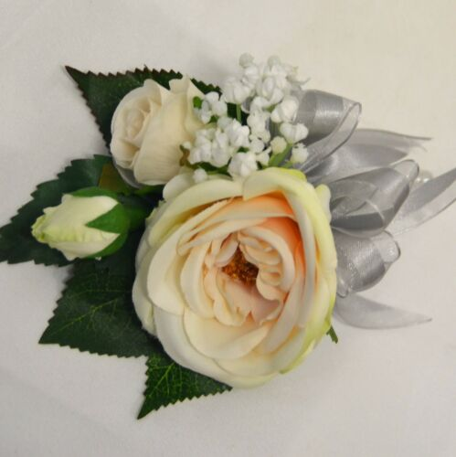 1X ARTIFICIAL WEDDING FLOWER SILK PEACH IVORY ROSES ROSE WHITE GYP PIN CORSAGE
