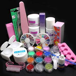 Full-Set-Acrylic-Powder-Liquid-French-Nail-Art-Brush-Glue-UV-Tips-Tools-Kit