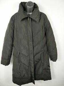 WOMENS MONSOON GREY PADDED LONG ZIP UP WITH POPPERS PUFFER ...