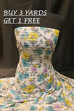 Turquoise Pink Yellow Floral Print Chiffon Georgette dress fabric material