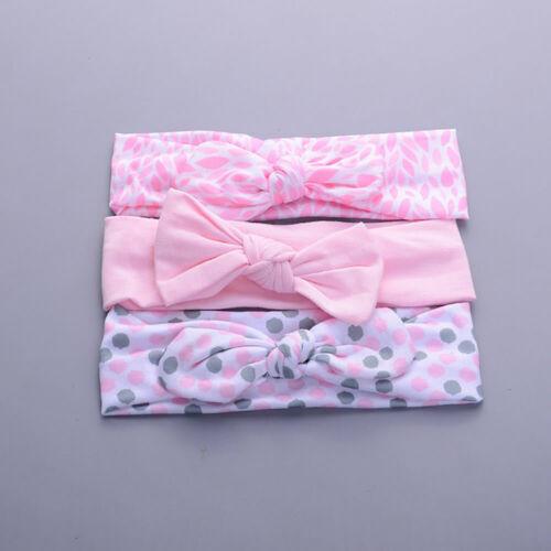 3pcs Baby Girl Headband Cotton Elastic Hairband Kids Bow Knot Turban Headwrap