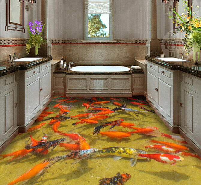 3D ROT Koi Fishs 532 Floor WallPaper Murals Wall Print 5D AJ WALLPAPER UK Lemon