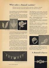 1962 DeBeers PRINT AD feat: Tailored, feminine & Classic, diamond necklace +more