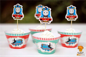 24-PCS-THOMAS-THE-TANK-CUPCAKE-TOPPERS-amp-WRAPPERS-PARTY-SUPPLIES-BIRTHDAY