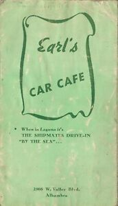 Vintage EARL'S CAR CAFE Restaurant Menu Alhambra California 1950