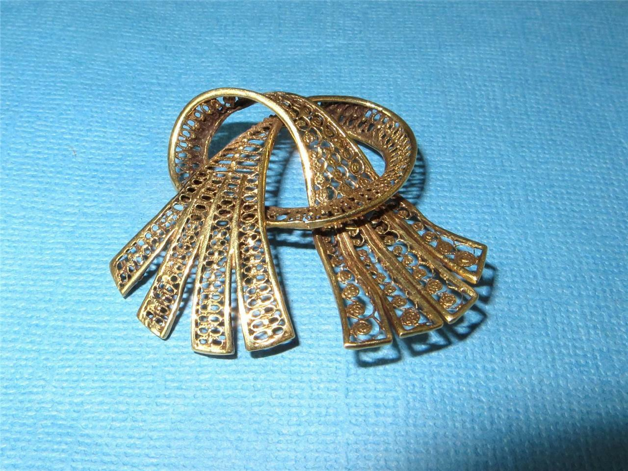 Vintage 14K gold Knotted Ribbon Fan Brooch Pin Cannetille Detail 6.2 grams c1920