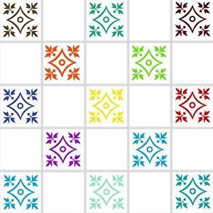 floral pochoirs transferts stickers pour salle de bains cuisine pour 6 x6 tuiles fl03 ebay. Black Bedroom Furniture Sets. Home Design Ideas