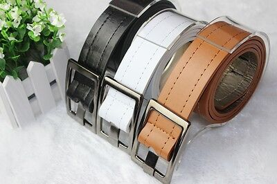 Fashion Unisex Mens Womens Buckle Perforated Faux Leather Buckle Belt #ZYUSMO1