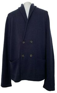 BROOKS BROTHERS MEN'S NAVY WOOL DOUBLE-BREASTED CARDIGAN, M, $298