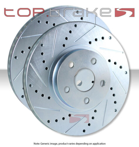 FRONT TOPBRAKES Performance Cross Drilled Slotted Brake Disc Rotors TB31494