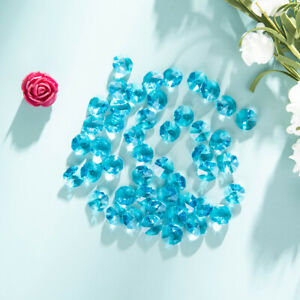 50-PCS-Light-Blue-Crystal-Octagon-Faceted-Prism-Beads-Chandelier-Part-14mm