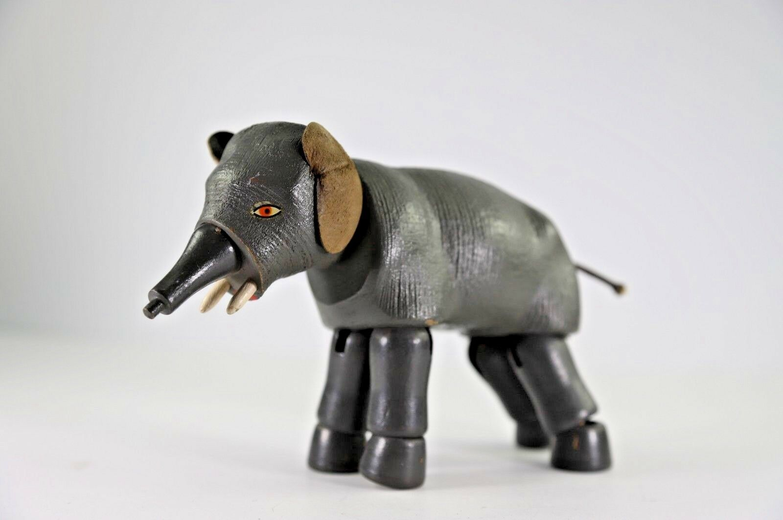 Antique shoesnhut Circus Elephant with Painted Eyes and Leather Ears
