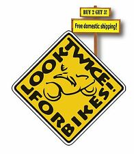 CHECK 2X TWICE FOR MOTORCYCLES Bumper Sticker//Decal 3x9