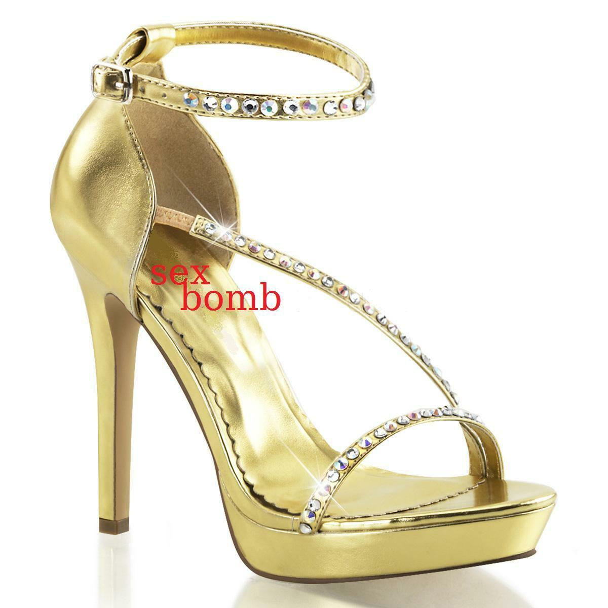 Sexy Sandals Rhinestone Heel 12 from 35 to 41 gold Platform Strap Fashion Glamour
