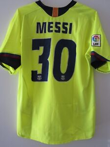 online store a63b3 a5390 Details about Nike 05-06 Barcelona Messi Away Football Shirt Soccer Jersey  Rare Yellow L