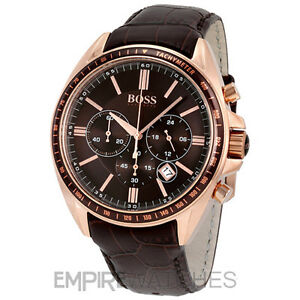 NEW  MENS HUGO BOSS DRIVER CHRONOGRAPH ROSE GOLD WATCH - 1513093 ... 3f9554b45b04
